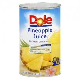 DOLE 100% PINEAPPLE JUICE,  46 OZ CANS (12)
