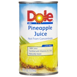 DOLE 100% PINEAPPLE JUICE, 6 OZ CANS (48)