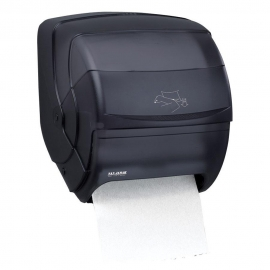 SAN JAMAR ROLL PAPER TOWEL DISPENSER, MANUAL LEVER, TRANSLUCENT BLACK (EACH)